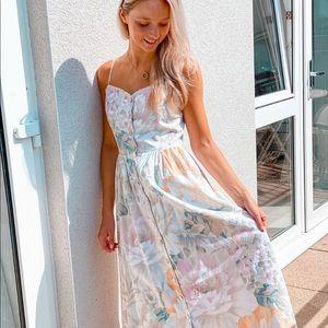 H&M linen blend cream/ floral Dress calf length